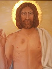 Oil painting of Christ Resurrected painted from  the Shroud of Turin--2004  by Patricia  Baehr Ross from James Kelly collection
