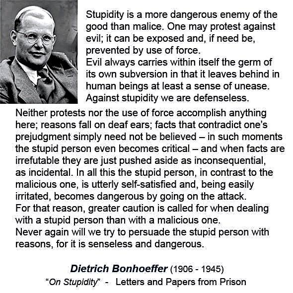 Bonhoeffer on stupidity
