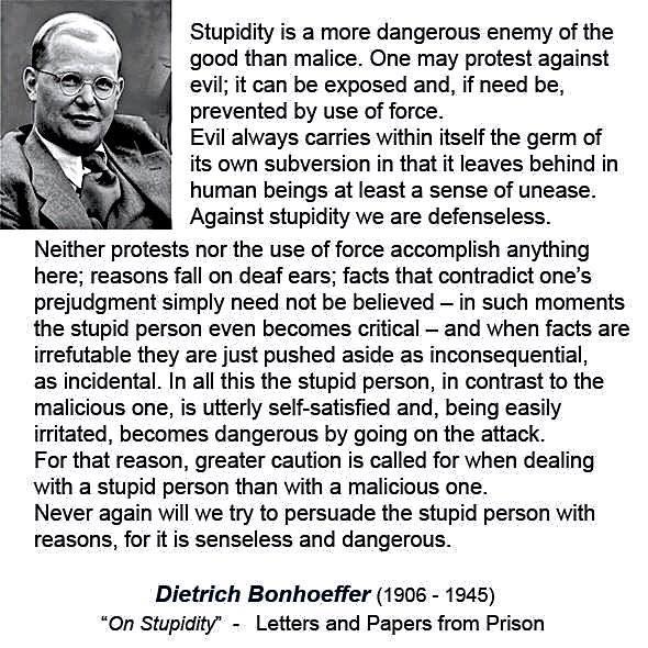 Bonhoeffer on stupidity